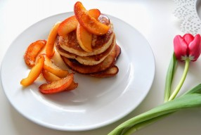 Pancakes + Caramelized Apple Wedges