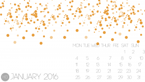 January 2016 Calendar Wallpaper - Hello Black